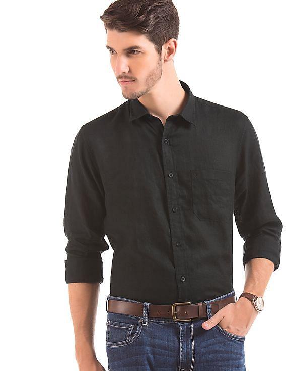 f99feaf243fa Buy Men Slim Fit Linen Shirt online at NNNOW.com