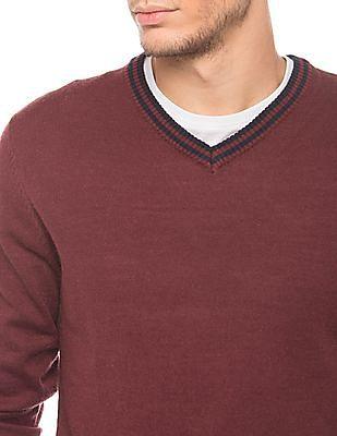 Flying Machine Regular Fit V-Neck Sweater