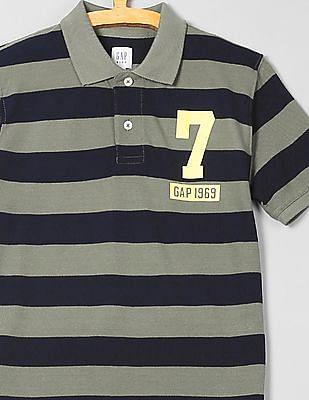 GAP Boys Logo Stripe Polo Shirt