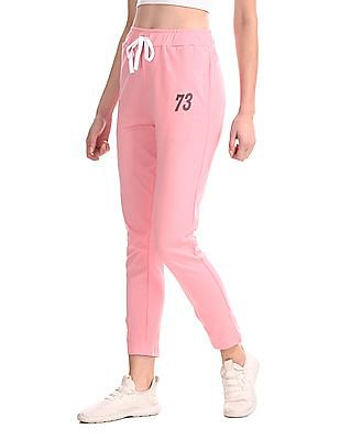 SUGR Pink Solid Knit Track Pants
