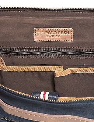 U.S. Polo Assn. Pleather Trim Canvas Messenger Bag