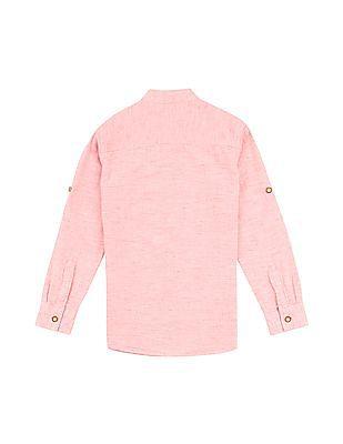 FM Boys Boys Slim Fit Mandarin Collar Shirt