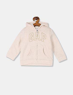 GAP Baby Girl Beige Cozy Logo Hoodie