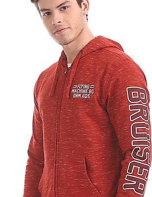 Flying Machine Red Heathered Hooded Sweatshirt