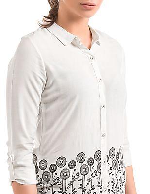 Bronz White printed hem shirt