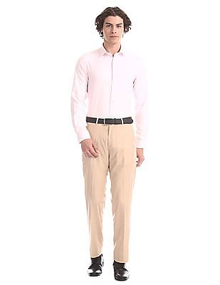 Excalibur Beige Flat Front Solid Trousers