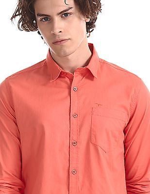 Flying Machine Orange Spread Collar Solid Shirt