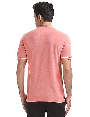 Flying Machine Standard Fit Heathered Henley T-Shirt