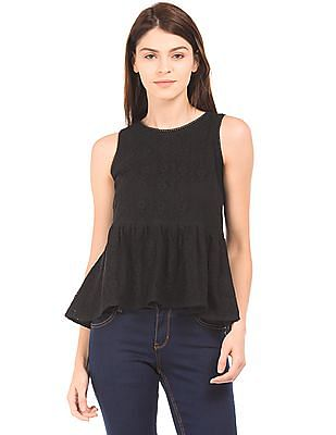 SUGR Solid Lace Peplum Top