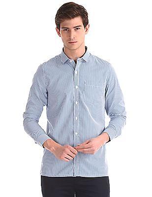 Excalibur Blue Semi Cutaway Collar Vertical Stripe Shirt