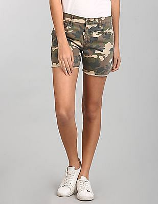 GAP Mid Rise Camo Denim Shorts