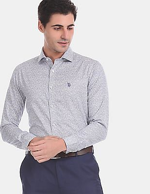 USPA Tailored Men Blue Printed Cotton Formal Shirt