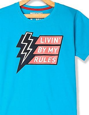 FM Boys Blue Boys Crew Neck Printed Front T-Shirt