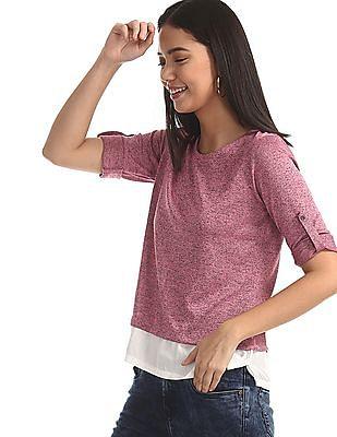 Cherokee Pink Roll Up Sleeve Twofer Top