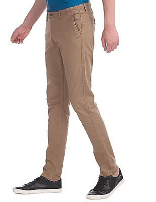 Cherokee Brown Slim Fit Twill Trousers