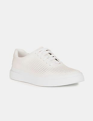 Cole Haan Men White GrandPrø Rally Laser Cut Sneakers
