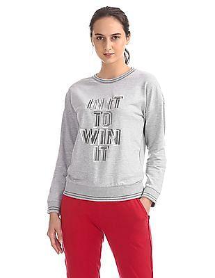 SUGR Printed Front Crew Neck Sweatshirt
