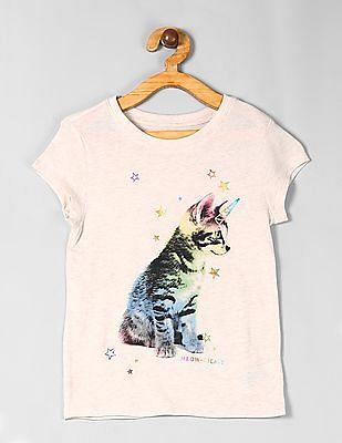 GAP Beige Girls Graphic Short Sleeve T-Shirt