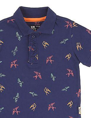 FM Boys Boys Bird Print Slim Fit Polo Shirt