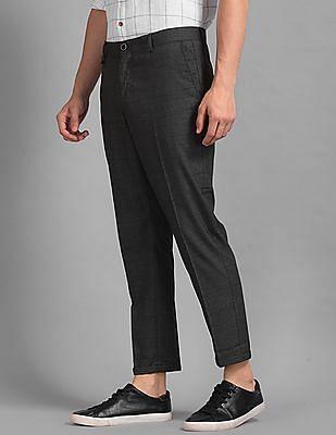 True Blue Grey Patterned Crop Trousers
