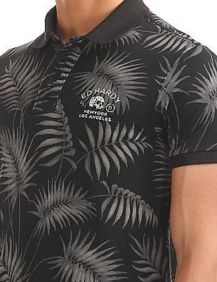 Ed Hardy Fern Print Pique Polo Shirt