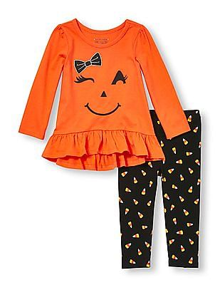The Children's Place Toddler Girl Assorted Long Sleeve Embellished Graphic Hi-Low Ruffle Top And Printed Leggings Set