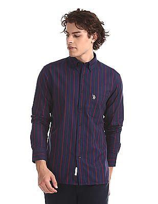 U.S. Polo Assn. Blue Vertical Stripe Button Down Shirt
