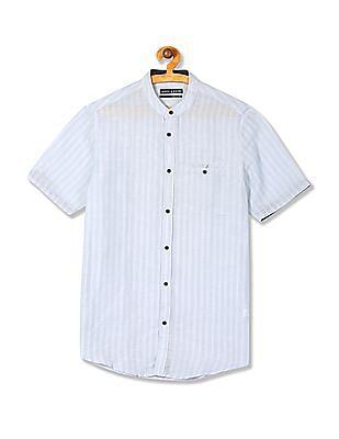 Arrow Newyork Mandarin Collar Vertical Stripe Shirt