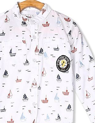Donuts Boys Mandarin Collar Printed Shirt