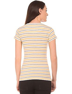 SUGR Round Neck Striped T-Shirt