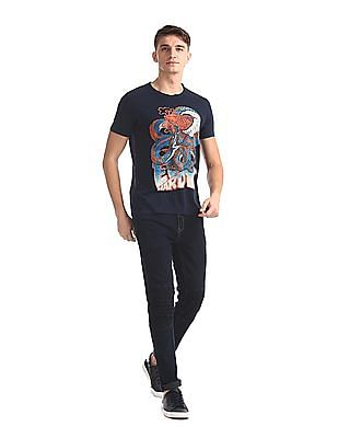 Ed Hardy Blue Crew Neck Graphic T-Shirt