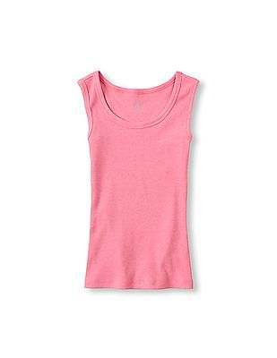 The Children's Place Girls Pink Sleeveless Solid Rib-Knit Tank