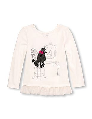 The Children's Place Toddler Girl Long Sleeve Embellished Graphic Mesh Ruffle Hem Top