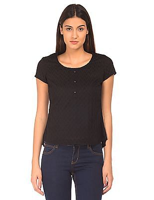 Bronz Embroidered Woven Top