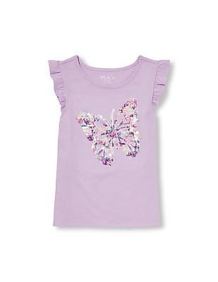 The Children's Place Girls Short Sleeve Embellished Graphic Top