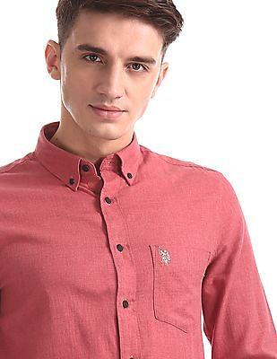 U.S. Polo Assn. Red Button Down Collar Solid Shirt
