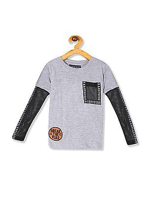 Cherokee Grey Boys Doctor Sleeve Crew Neck T-Shirt