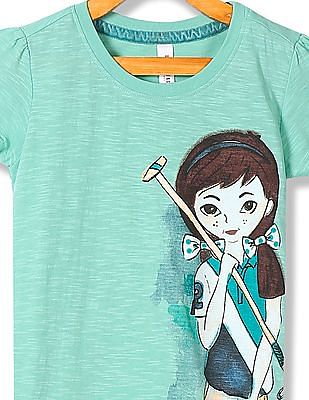 U.S. Polo Assn. Kids Girls Round Neck Printed T-Shirt