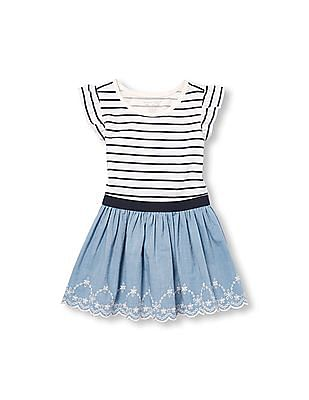The Children's Place Toddler Girl Short Sleeve Striped Chambray Knit To Woven Dress
