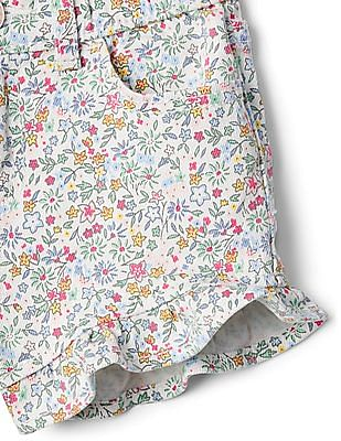 GAP Toddler Girl White Floral Shorty Shorts With Flutter Cuffs In Stretch