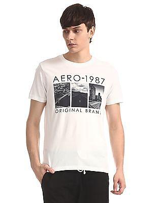 Aeropostale White Crew Neck Printed T-Shirt