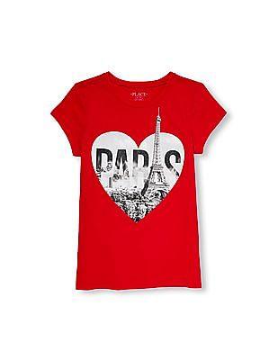 The Children's Place Girls Short Sleeve Glitter 'Paris' Heart Graphic Tee