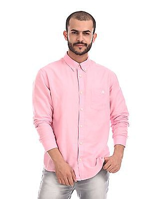 Aeropostale Pink Button Down Collar Solid Shirt