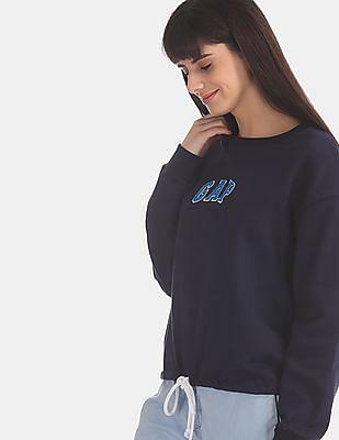 GAP Blue Logo Tie-Hem Crewneck Sweatshirt