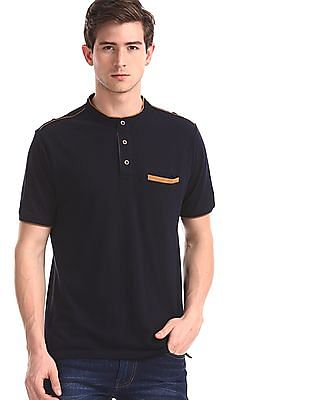 Cherokee Blue Band Collar Pique Polo Shirt