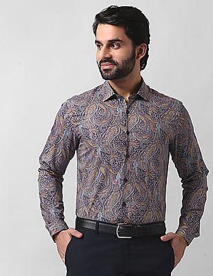True Blue Slim Fit Printed Shirt