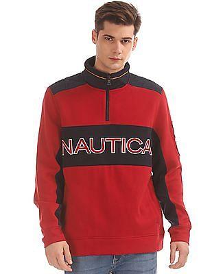 Nautica High Neck Colour Block Sweatshirt
