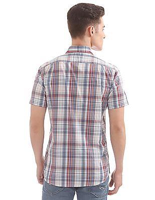Nautica Short Sleeve Plaid Poplin Shirt