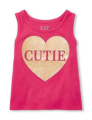 The Children's Place Baby And Toddler Girl Matchables Sleeveless Embellished Graphic Tank Top
