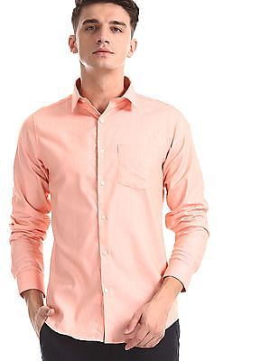 Excalibur Orange Slim Fit French Placket Shirt